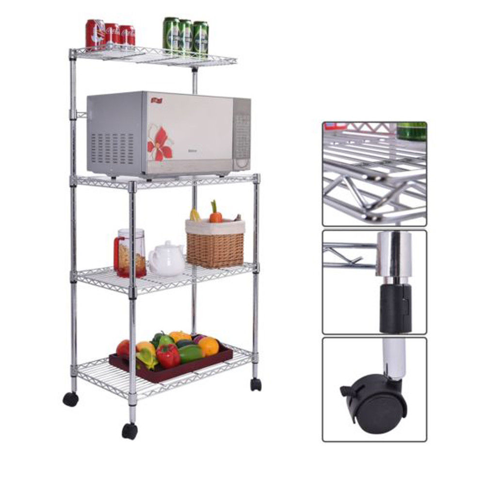 US $35.05 5% OFF|4 Layer Adjustable Kitchen Bakers Rack Shelf Microwave  Oven Stand Storage Cart-in Storage Holders & Racks from Home & Garden on ...