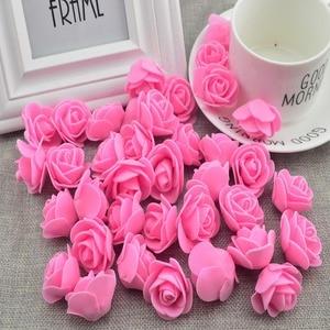 100pcs Artificial Flower cheap PE Foam roses head fake flower Handmade wedding decoration for scrapbooking gift box diy wreath