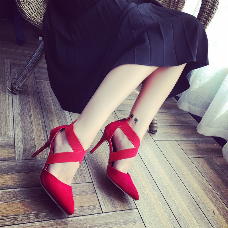 2017 New Sexy Black Red Shoes Cross Lace Up Gladiator High Heels Women Pumps Wedding Dress Shoes Woman Stiletto Valentine Shoe fashion buttons rivet studs high heels designer gladiator sandals red black women pumps party dress sexy wedding shoes woman