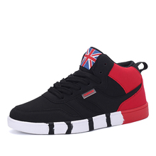 Men's Winter Warm Anti-Slippery Athletic Skateboarding Shoes High Help Leather Patchwork High-Up Fleece Inside Sneakers