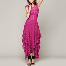 2017 Summer Boho Dress Womens Backless Sheer Mesh Sexy Mori Long Lace Maxi Dress See Through Casual Party Dresses Vestidos
