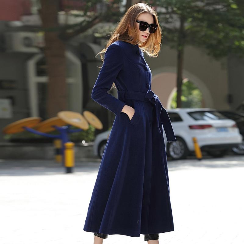 Veste Blue De Cru Cachemire Manteau Outwear Laine Automne camel Long Mode Poitrine Montant Nouvelle Super Hiver Rétro Femmes navy Blue Unique Col pRwI0xq7f