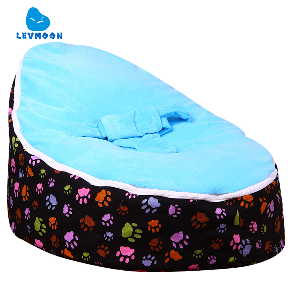 Levmoon Medium Paw Print Bean Bag Chair Kids Bed For Sleeping Portable Folding Child Seat Sofa Zac Without The Filler levmoon medium blue circle print bean bag chair kids bed for sleeping portable folding child seat sofa zac without the filler