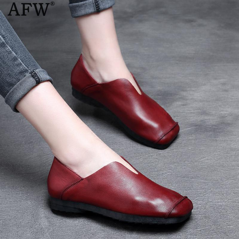AFW Women Soft Leather Flats Slip On Low Heel Spring Shoes 2018 Retro Loafers Women Genuine Leather Moccasins Handmade Lazy Shoe new handmade casual shoes men high quality genuine leather soft loafers moccasins slip on male flats driving shoes lazy slippers