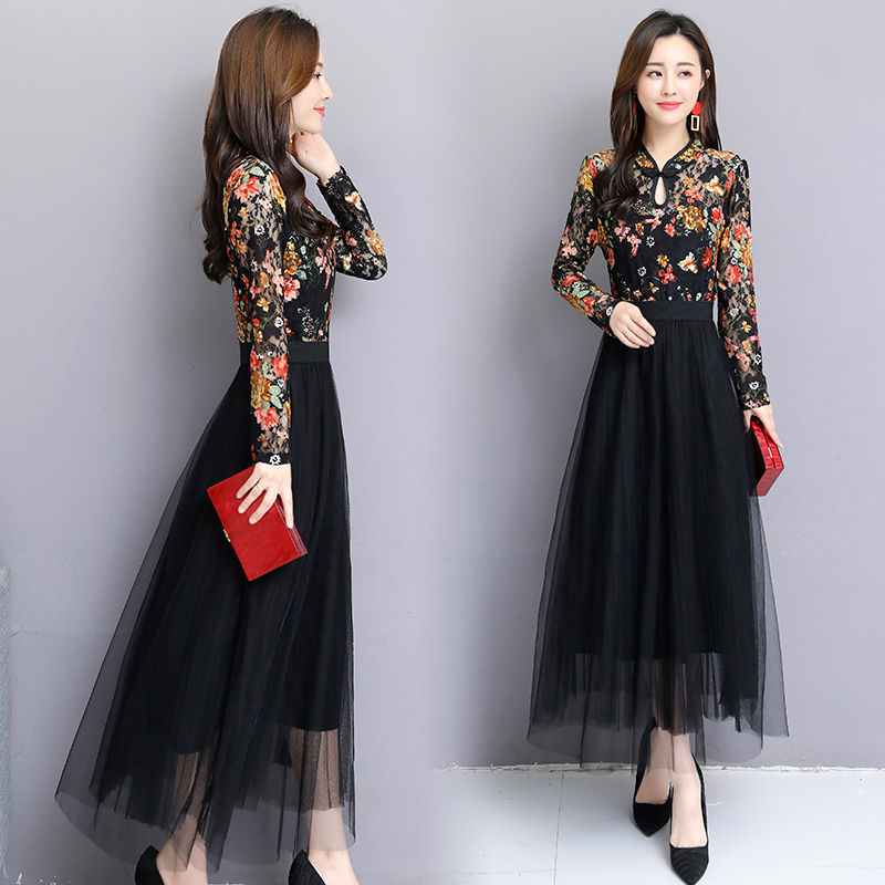 Plus Size New Spring Women Dress Black Sexy Lace Floral Print O-Neck Dress Vintage Long Sleeve Dresses Vestidos Robes