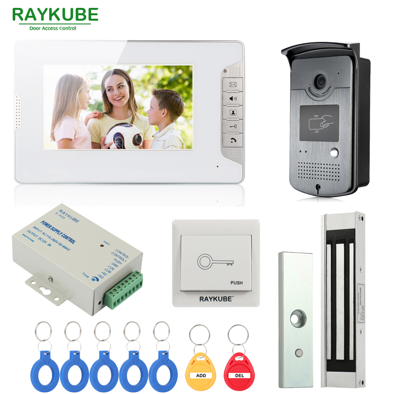 RAYKUBE Wired Video Door Phone Intercom Entry System 7 Inch LCD Monitor RFID Reader & Camera With 180kg Electric Magnetic Lock 3v3 7 inch monitor water proof ip66 wired intercom video door phone