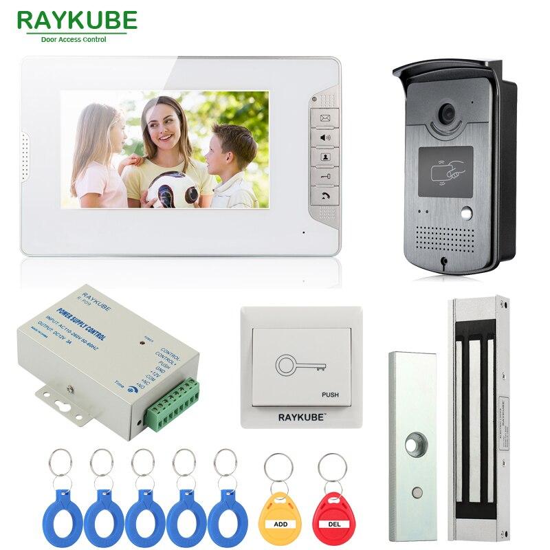 Raykube проводной телефон видео домофон запись Системы 7 дюймов ЖК дисплей Мониторы RFID считыватель и Камера с 180 кг Электрический магнитный зам