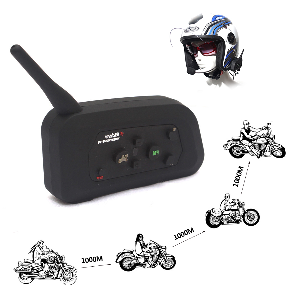 1200M V4 Bluetooth Intercom Helmet Headset Calls Automatic Answer 3.5 Bluetooth 4 Simultaneous Speaking