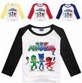 2017 Roupas Meninos PJMASKS PJ T Camisa de Algodão de Manga Comprida Camisa Dos Desenhos Animados Crianças Menina Camisetas Crianças Top Roupas de Máscaras
