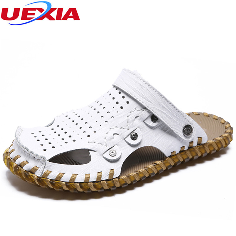 UEXIA Summer Soft Rubber Male Sandals Shoes Men Casual Beach Comfortable Handmade Breathable Light Lace-Up Quality Comfortable