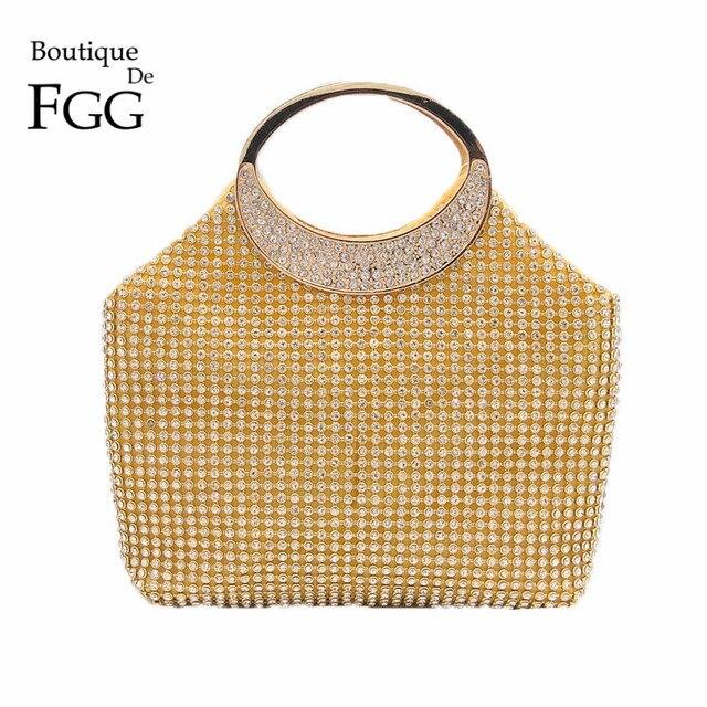 edb86cc01f Dazzling Women Gold Crystal Evening Totes Bags Bridal Diamond Handbags  Purses Wedding Clutches Ladies Party Prom Clutch Bag