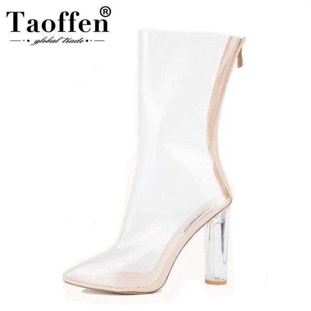 29a359549 TAOFFEN las mujeres zapatos de tacón alto zapatos de cuero Real de longitud  media pantorrilla botas