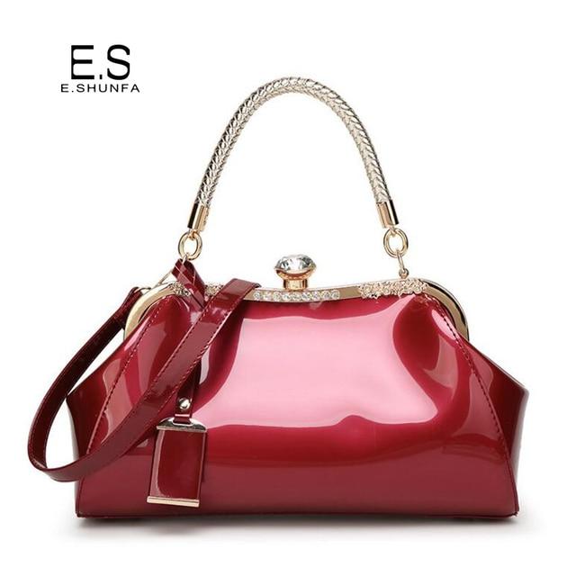 962c29d857b8 Элегантные женские сумки на плечо 2018 Новая модная лакированная кожа сумка  с бриллиантами высокое качество сумка
