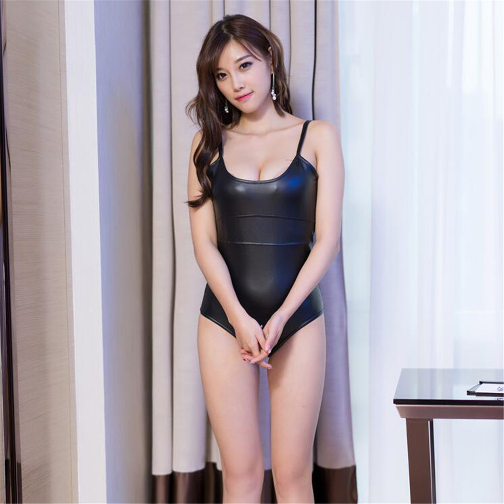 Patent leather Camisole High fork Big back Jumpsuit Nightclub erotic bodysuit sexy lingerie bodystocking latex catsuit body suit in Teddies Bodysuits from Novelty Special Use