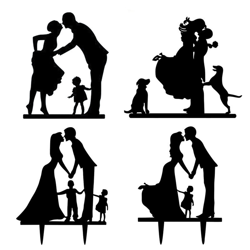 1Pcs Acrylic Wedding Cake Topper Happy Family Wedding Cake -3314