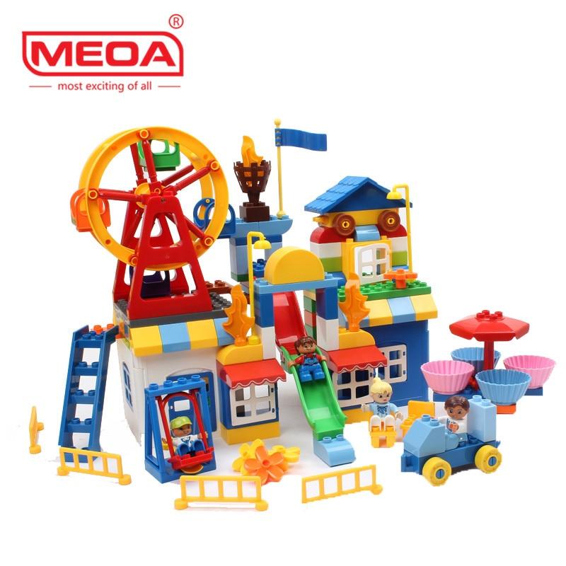 158 pièces grandes briques grande roue parc d'attractions pour briques créatives jouets enfant éducatif bloc de construction Compatible avec Duploe