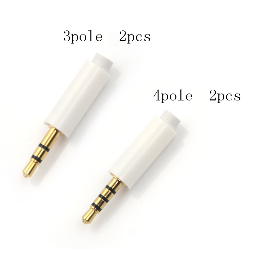 2pcs 2.5mm Stereo Headset Plug With Tail 3/4 Pole 2.5 Mm Audio Plug Jack Adaptor Connector For Phone White