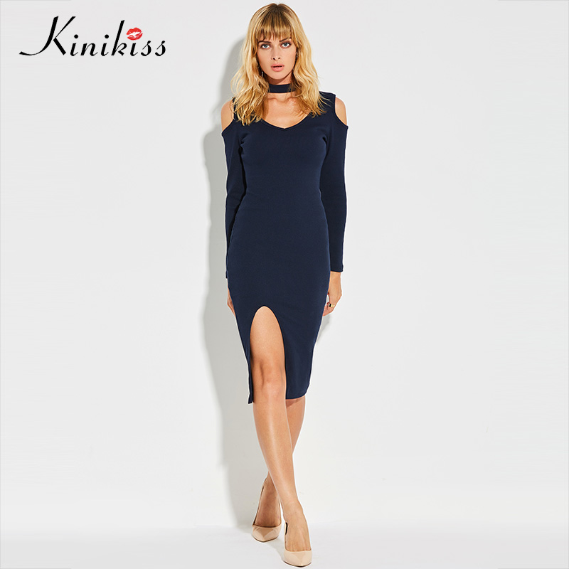 Kinikiss Halter Knitted Sweater Dress Women Elastic Split Autumn Winter Bodycon Dresses Long Sleeve Open Shoulder Sexy Dress pocket open shoulder split full length dress
