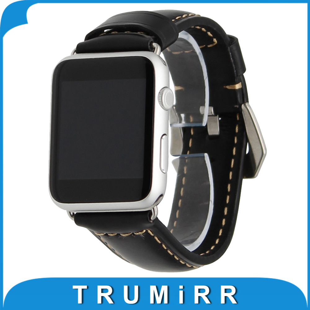 Genuine Leather Watchband for iWatch Apple Watch 38mm 42mm Wrist Band Polished Stainless Steel Buckle Strap Replacement Bracelet genuine leather watchband alligator grain for iwatch apple watch 38mm 42mm stainless steel butterfly clasp band strap bracelet