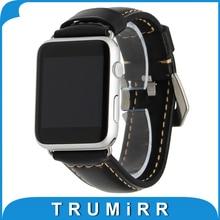 Véritable Bracelet En Cuir pour iWatch Apple Watch 38mm 42mm Bracelet En Acier Inoxydable Poli Boucle Sangle de Remplacement Bracelet