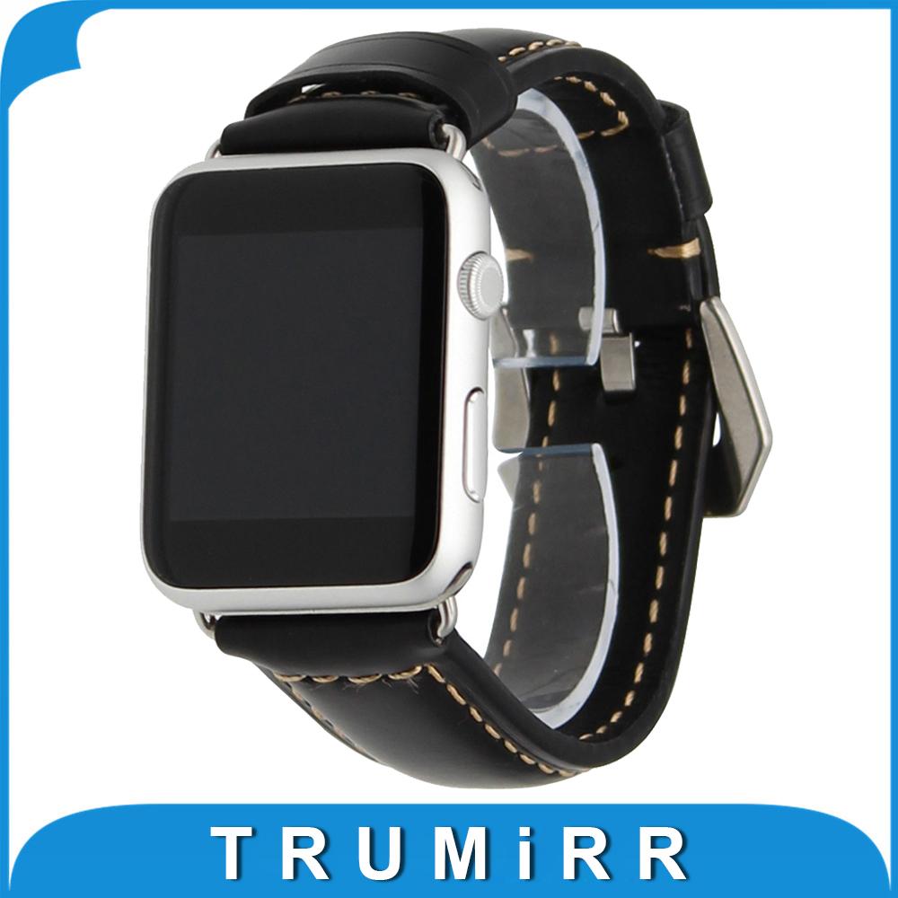 Prix pour Véritable Bracelet En Cuir pour iWatch Apple Watch 38mm 42mm Bracelet En Acier Inoxydable Poli Boucle Sangle de Remplacement Bracelet