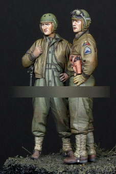 1/35 Resin Figures WWII Soldier Armored Division Set 2pcs/set Model Kits
