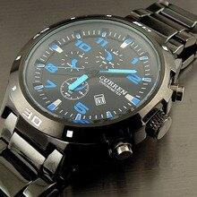 2016 Curren Nueva Moda Casual Deportes Relojes Hombres de Cuarzo Dial Fecha Reloj Hombres Completa de Acero Inoxidable Reloj Relogio masculino