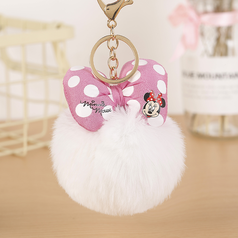 Felyskep Hot Sale Rabbit Fur Mickey Pompon Ball Fluffy Fur Ball Key Chain For Women For Car Or Bag Key Ring HolderJewelry 298WA