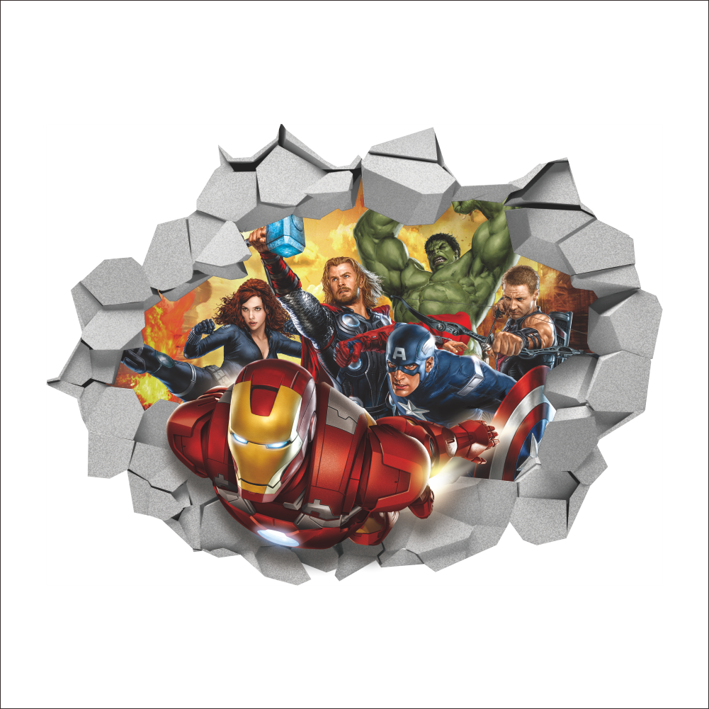 3D Broken Wall Decor The Avengers Wall Stickers For Kids