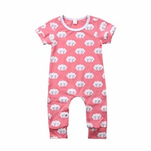 Infant Baby Clothes Pink Cartoon Cloud Shy Expression Romper Baby Girls Jumpsuit Bebe Clothing