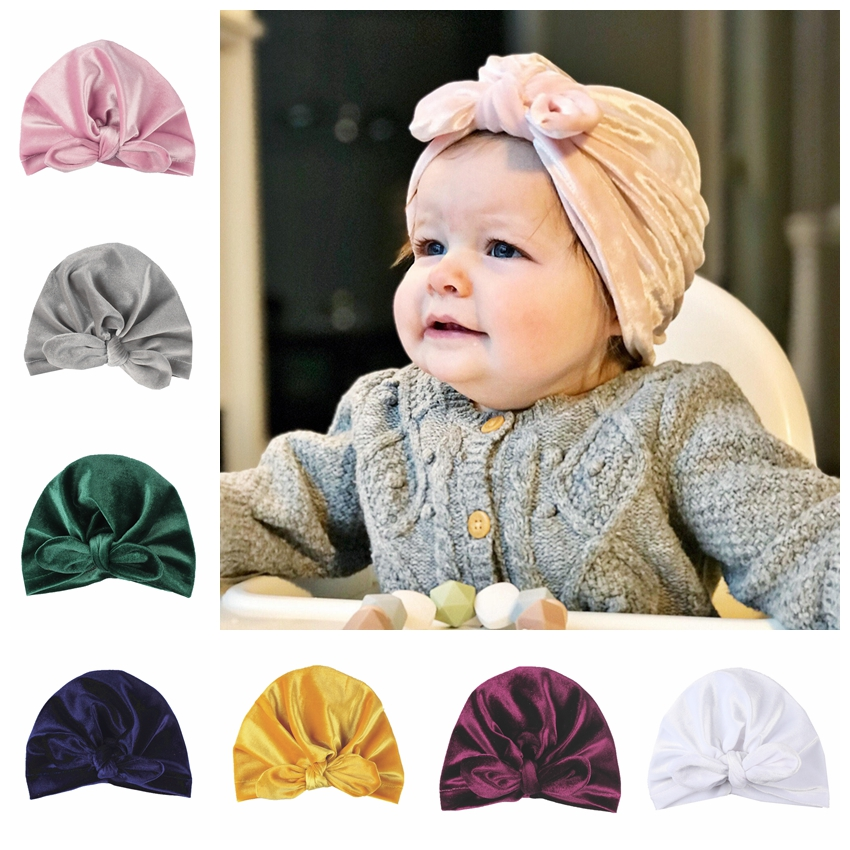 New Gold Velvet Baby Infant Turban Hat Toddler Ear Knot Newborn Beanie Top Knot Caps   Headwear   Birthday Gift Photo Props