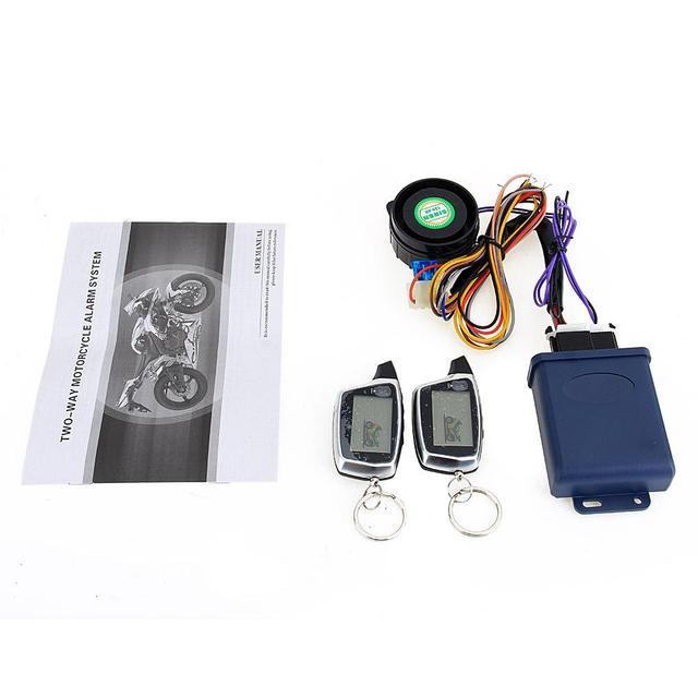 Sistema de alarme da motocicleta 2-way lcd sensor de partida do motor de controle remoto de alarme 125db proteção contra roubo de moto