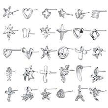 ZS Real 925 Sterling Silver Stud Earrings for Women Heart Crystal AAA Cubic Zirconia Helix Jewelry