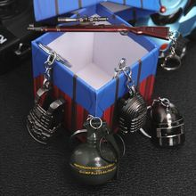 Game PUBG Keychain Cosplay Prop Metal Accessories Pan Backpack Key Ring Helmet 98K Key Chain(China)