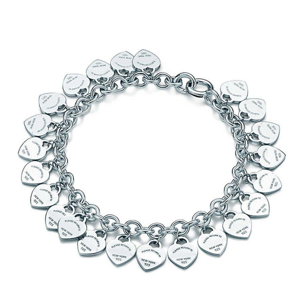 Heart Shape Bracelet & Bangle Brand 925 Sterling Silver Heart T sign Pendant Simple Design For Women Elegant Fine Jewelry wlogo (4)
