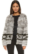 Classic Womens Real Close-woven Rabbit Fur Jacket Spring/Autumn Casual Outerwear Real Fur Coat Round Collar LX00763