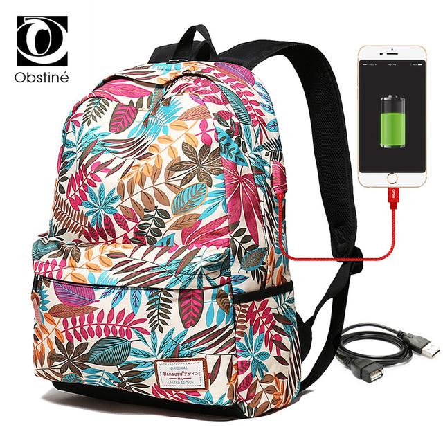 57d33b8cb8 Women Printing Travel Large Capacity Backpack 15.6 Inch School Bags for Teenage  Girls USB Charger Backpacks Bag Female Schoolbag