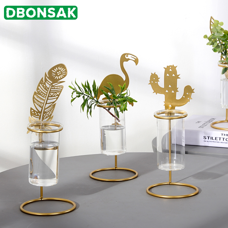 Nordic Flamingo Vase Transparent Glass Test Tube Hydroponic Vase Living Room Flower Arrangement Table Decoration Flower Pot