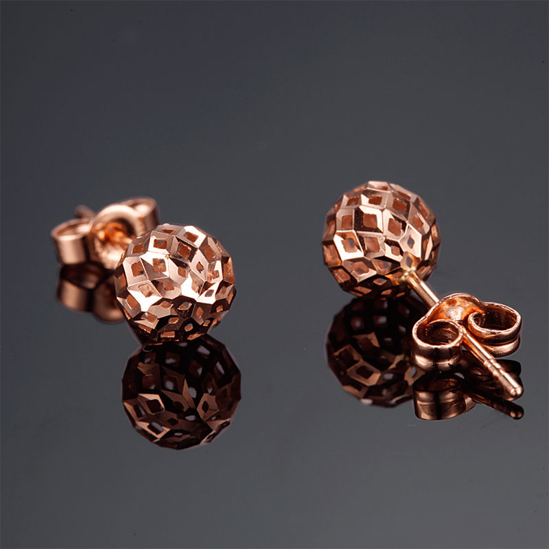 Authentic 18k Rose Gold Stud Earrings Charming Hollow Ball Stud EarringsAuthentic 18k Rose Gold Stud Earrings Charming Hollow Ball Stud Earrings