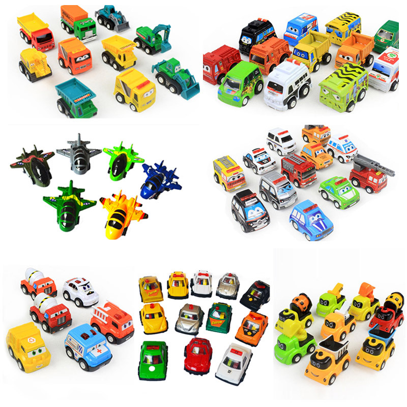 60 Style ABS Plastic Cute Mini Car Pull Back Aircraft Traffic Vehicles Model Funny Kids Baby Toys