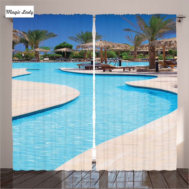 Curtains Blackout Photo Accessory House Collection Swimming Pool Hotel Resort Holiday Blue Beige Living Room Bedroom