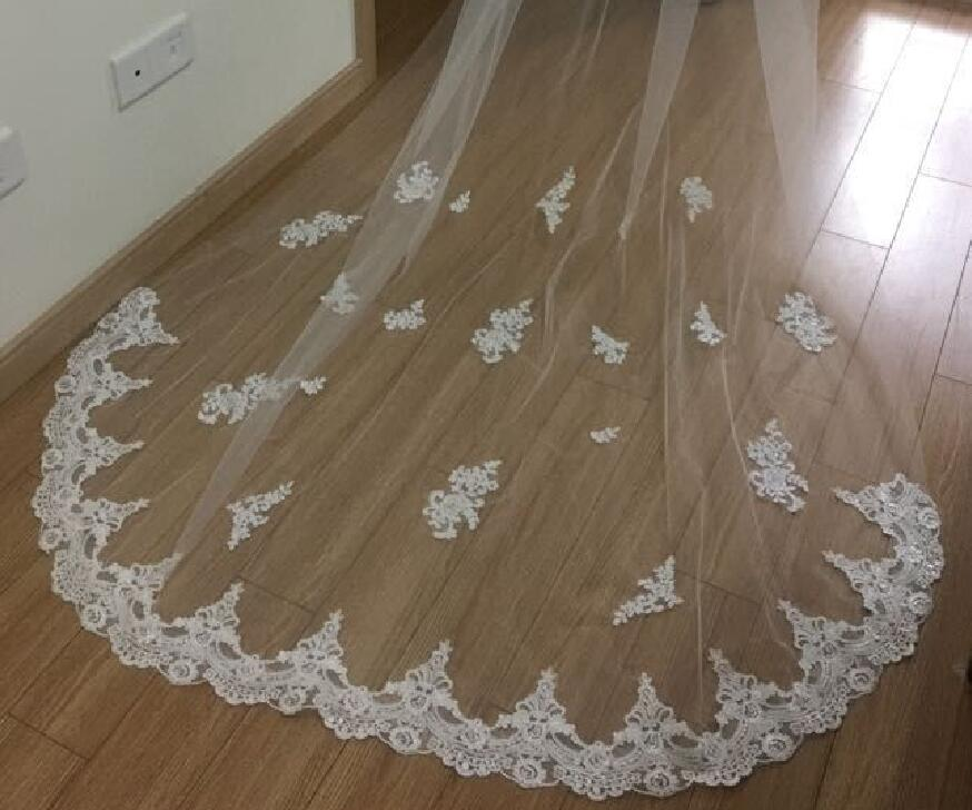 2t Cathedral wedding veil, chapel lace bride vail, embroidered hem, floral lace applique white  light ivory & comb  long veils
