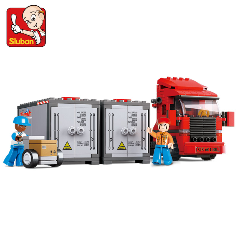 Sluban Model Building Compatible lego Lego B0338 345pcs Model Building Kits Classic Toys Hobbies Two Container Truck