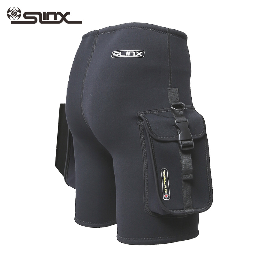 NEW SLINX Black 3mm Neoprene Wetsuit Tech Shorts Snorkeling Scuba Diving Equipment Surfing Trunks Submersible Pocket Pants