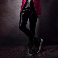 Custom Make Men PU Leather Pant Fashion Singer Dancer Punk Hip Hop Rock Style Slim Fit