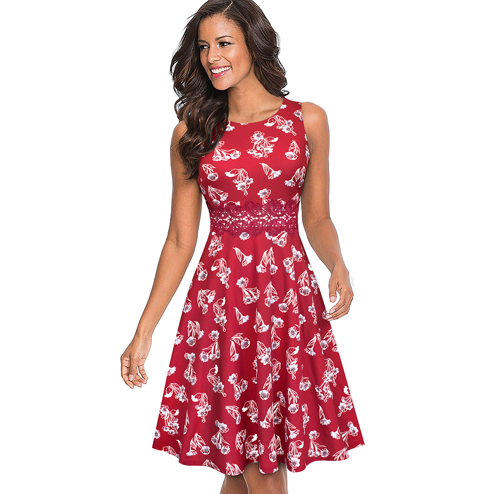 Nice-forever Vintage Elegant Embroidery Floral Lace Patchwork vestidos A-Line Pinup Business Women Party Flare Swing Dress A079 125