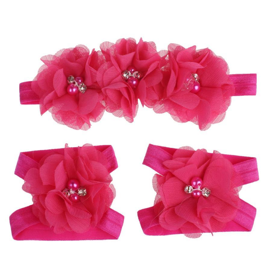 Colorful Foot Flower Barefoot Sandals + Headband Set for Baby Infants Girls Laco De Cabelo Infantil