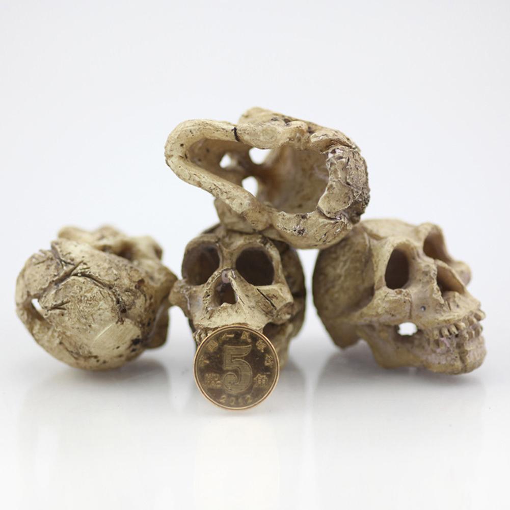 Halloween Decorations Artificial Skull Head Model Resin Skull Fish Tank Aquarium Hiding Decor Terrarium Reptile Ornaments Tool