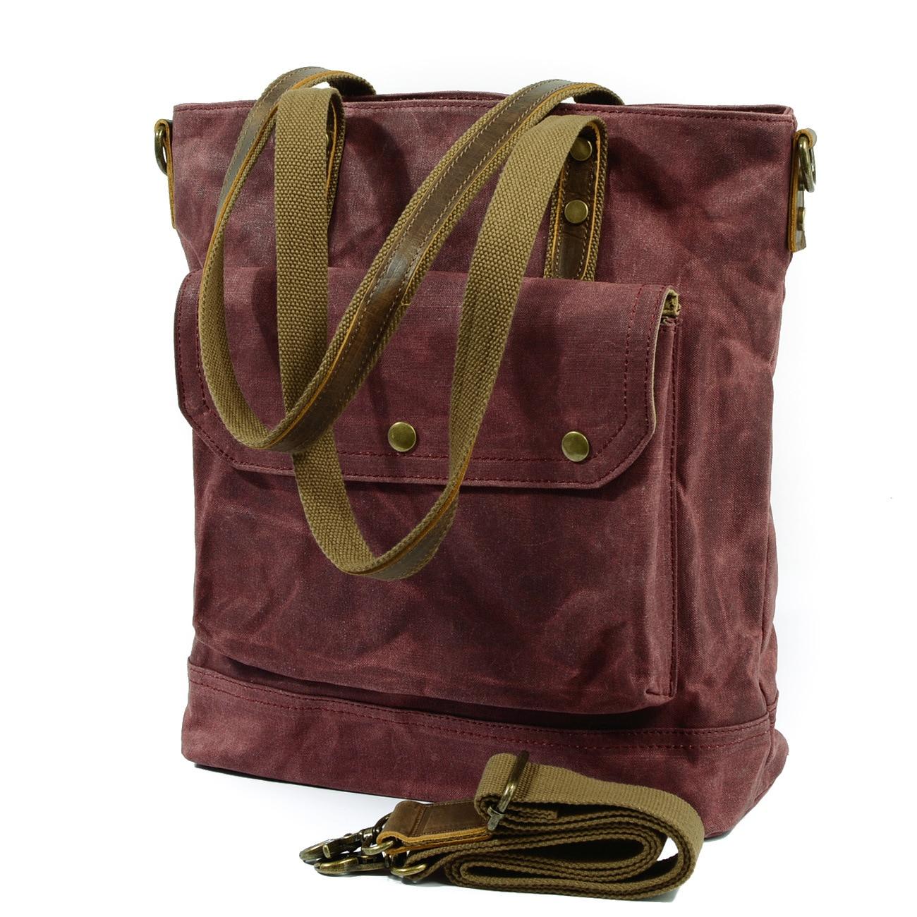 Man Crossbody bag Multifunction Men bag Retro handbags Women Waxed Canvas Bag Shoulder Messenger Bags Leisure Waterproof Package