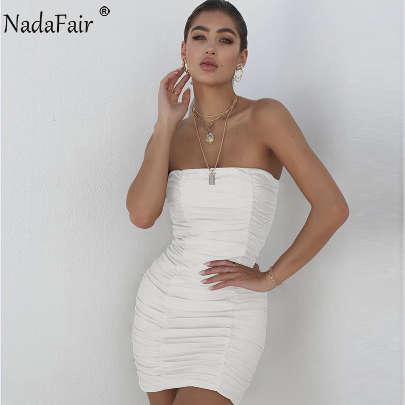 514bf93eb437b Nadafair Off Shoulder Strapless Backless Wrap Summer Dress Women Sexy  Ruched Mini Bodycon Club Party Dress White